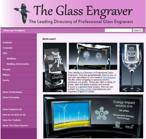 An image of the Homepage of the Directory of Glass Engravers