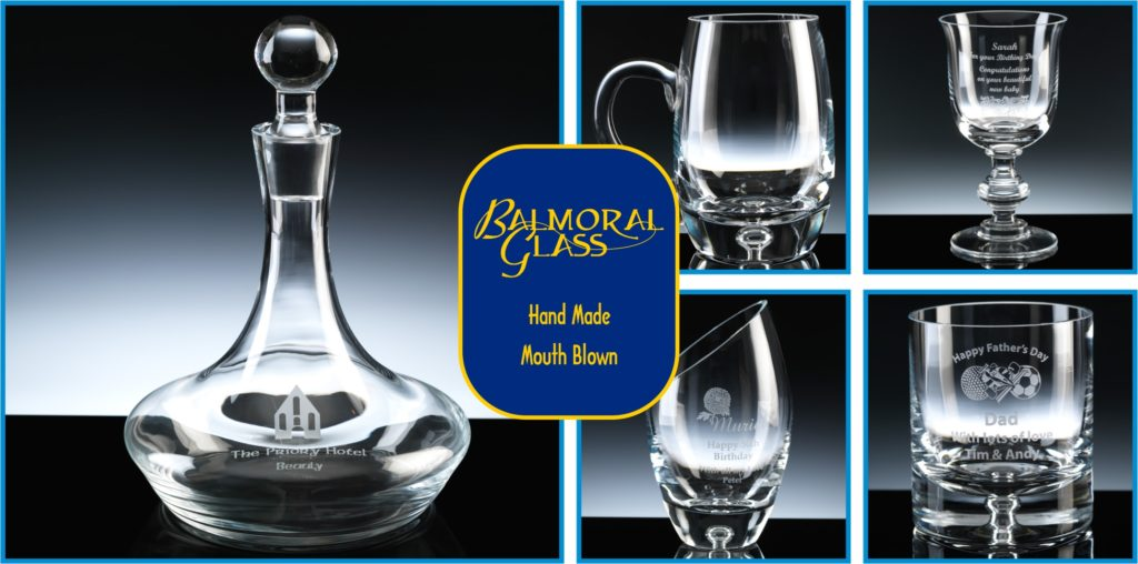 Balmoral Glass is a Range of Mouth Blown Hand Made Glass, exclusive to The Glass Scribe. Pictured is a Ships Decanter, Bubble Base Barrel Tankard, Chelsea Wine Glass, Bubble Base Barrel Vase and Bubble Base Tumbler