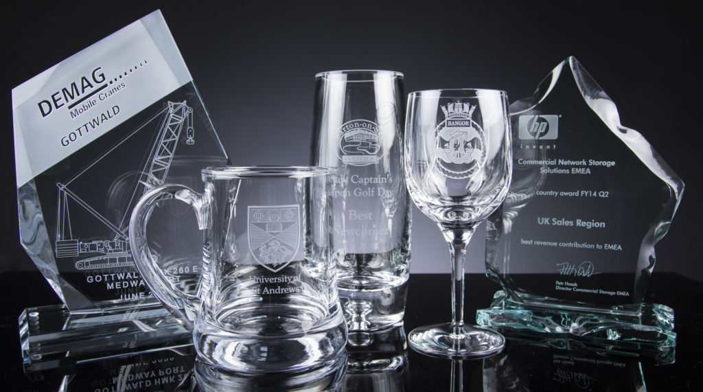 The Glass Scribe offer a Trade Engraving Service. Pictured is a few examples of our engraved glass and crystal.