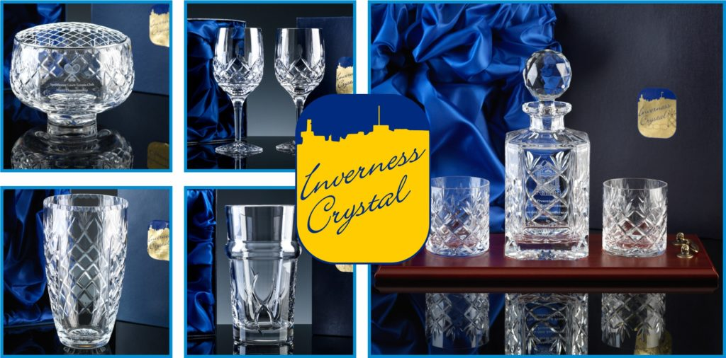 Inverness Crystal is a range of Cut Crystal items exclusive to The Glass Scribe. Pictured is a Rose Bowl, Pair of Wine Glasses, Barrel Vase, Beer Glass and a Whisky Set