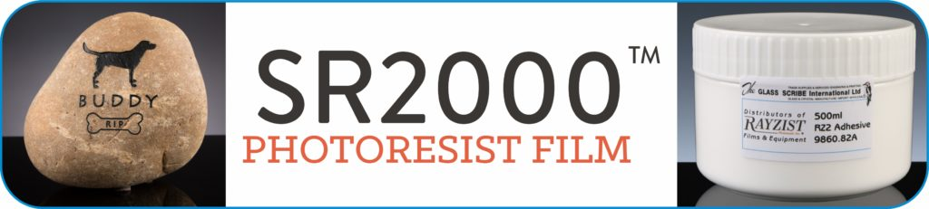 SR2000 Photo-resist film Logo. SR2000 is a photo-resist sandblasting film used to make stencils, and adhesive is required.