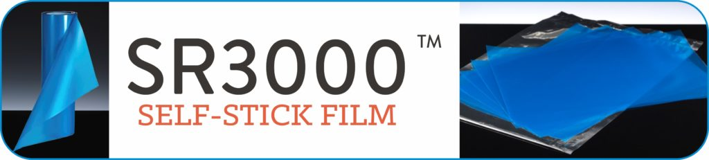 SR3000 Self-stick film Logo. SR3000 is a photo-resist sandblasting film used to make stencils