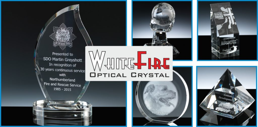 WhiteFire is a range of Optical Quality Crystal from The Glass Scribe. Pictured are a few pieces from the range, Glen Esk Flame, Globe in Hand, Cairngorm Column, Wedge Circle and Elevated Pyramid